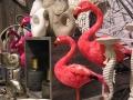 Die Pelikane machen sich zwischen pastelligen Tönen richtig gut.
