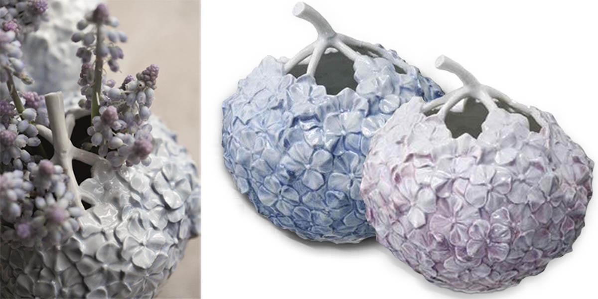Hortensienvase in Rosa und Hellblau von Royal Coppenhagen